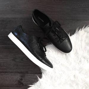 Calvin Klein Logo Embossed Black Leather Sneakers